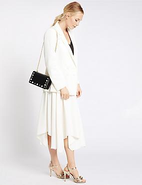 Faux Leather Pearl Shoulder Bag, , catlanding
