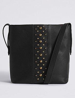 Faux Leather Across Body Bag, BLACK, catlanding