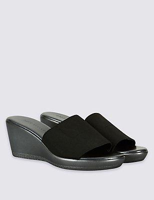 Wedge Heel Mule Sandals, BLACK, catlanding