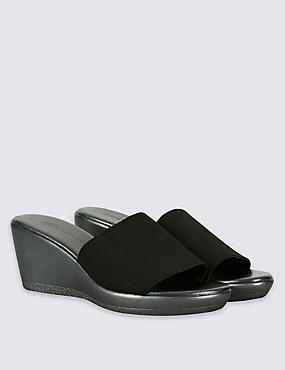 Wedge Heel Mule Sandals with Insolia®, BLACK, catlanding