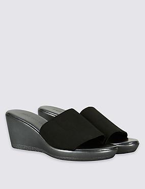Sandales style mules à talons compensés, dotées de la technologie Insolia®, NOIR, catlanding