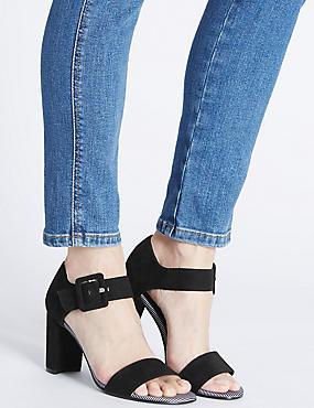 Sandales fermées à l'arrière à talons angulaires, NOIR, catlanding