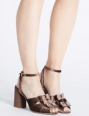 Block Heel Bow Sandals, MINK, catlanding