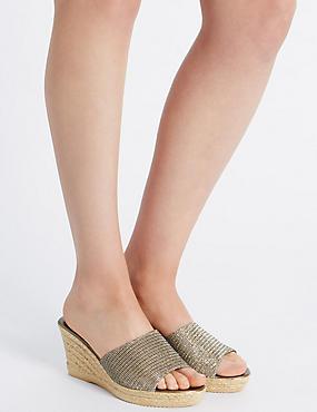 Wedge Heel Glitter Sandals, BRONZE, catlanding