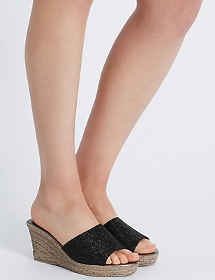 Wedge Heel Glitter Sandals, BLACK, catlanding