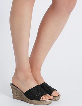 Wedge Heel Glitter Sandals, BLACK, catlanding