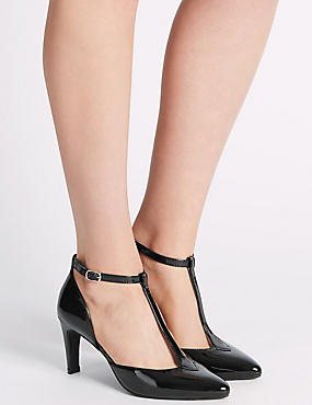 Stiletto Court Shoes with Insolia®, BLACK PATENT, catlanding
