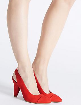 Angular Heel Slingback Court Shoes, FLAME, catlanding