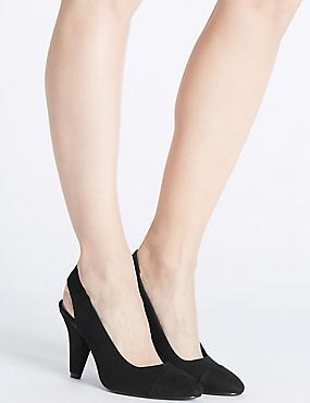 Angular Heel Slingback Court Shoes, BLACK, catlanding