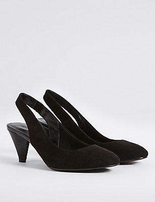 Angular Heel Elastic Slingback Court Shoes, BLACK MIX, catlanding