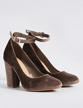 Block Heel Ankle Strap Court Shoes, MINK, catlanding