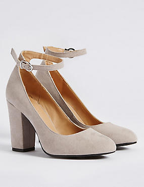 Block Heel Ankle Strap Court Shoes, GREY, catlanding