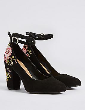 Block Heel Embroidered Court Shoes , BLACK MIX, catlanding