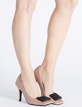 Stiletto Square Toe Court Shoes, NUDE, catlanding