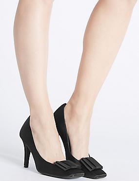 Stiletto Square Toe Court Shoes, BLACK, catlanding
