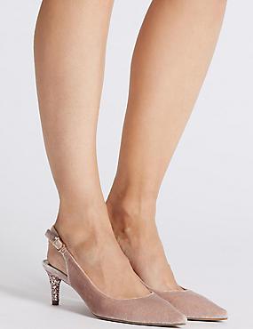 Kitten Heel Slingback Court Shoes, BLUSH, catlanding
