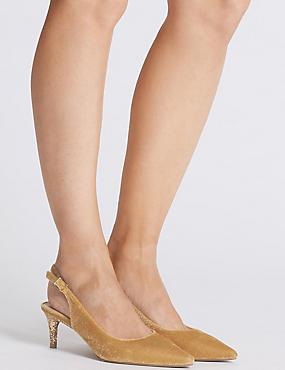 Kitten Heel Slingback Court Shoes, GOLD, catlanding