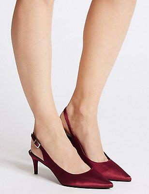 Kitten Heel Slingback Court Shoes, BERRY, catlanding