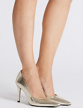 Stiletto Heel Court Shoes, GOLD, catlanding