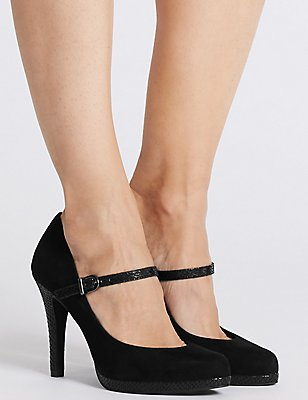 Stiletto Heel Bar Court Shoes, BLACK, catlanding