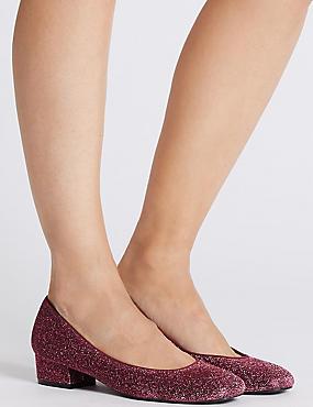 Block Heel Court Shoes, BERRY, catlanding