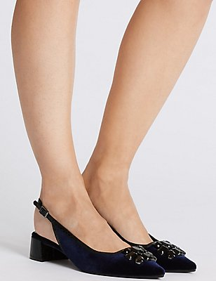 Block Heel Jewel Slingback Court Shoes, NAVY, catlanding