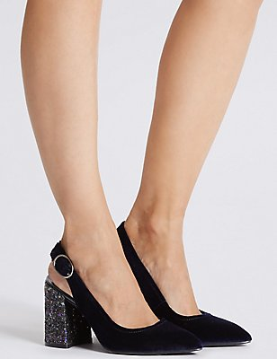 Slingback Court Shoes, NAVY, catlanding
