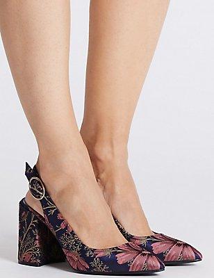 High Block Slingback Court Shoes, MULTI, catlanding