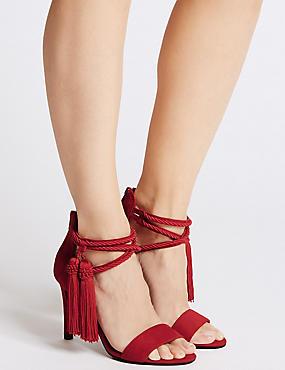 Stiletto Heel Back Zip Tassel Sandals, DARK RED, catlanding