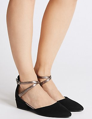 Almond Toe Two Part Court Shoes, BLACK, catlanding