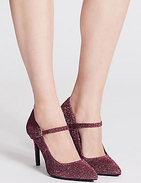 Stiletto Heel Fine Strap Court Shoes, BERRY, catlanding