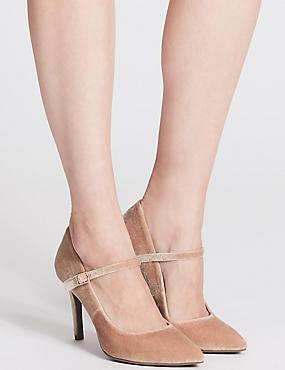 Stiletto Fine Strap Court Shoes, BLUSH, catlanding