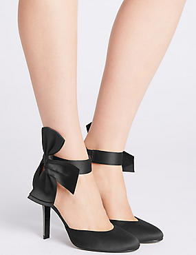 Stiletto Bow Satin Two Part Court Shoes, BLACK, catlanding