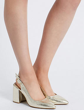 Block Heel Sling Back Court Shoe, GOLD, catlanding