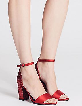 Two Part Block Heel Sparkle Sandals, RED, catlanding