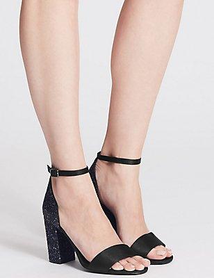Two Part Block Heel Sparkle Sandals, BLACK, catlanding
