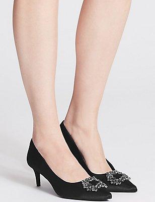 Kitten Heel Embellished Court Shoes, BLACK, catlanding