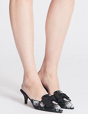 Kitten Heel Bow Mule Shoes, BLACK MIX, catlanding