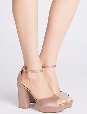 Block Heel Two Part Sandals, BLUSH, catlanding