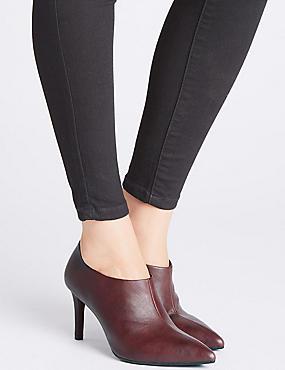 Stiletto Heel Side Zip Shoe Boots, WINE, catlanding