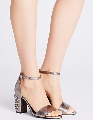 Block Jewel Heel Two-Part Sandals, PEWTER, catlanding