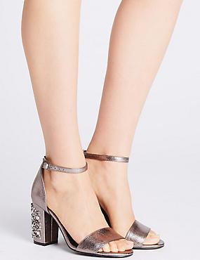 Block Jewel Heel Two-Part Sandals, PEWTER, catlanding