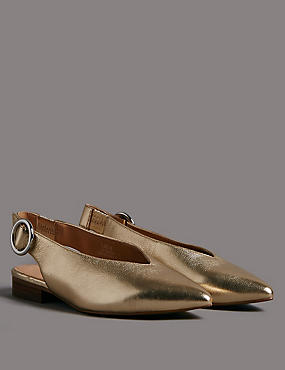 Leather Block Heel Slingback Flats, GOLD, catlanding