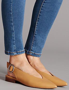 Zapatos planos de piel sin talón con tacón en bloque, OCRE, catlanding