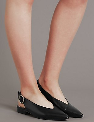 Leather Block Heel Slingback Flats, BLACK, catlanding