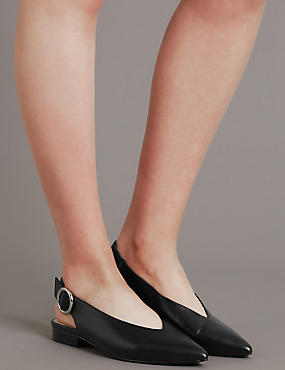 Leather Block Heel Slingback Flats, , catlanding