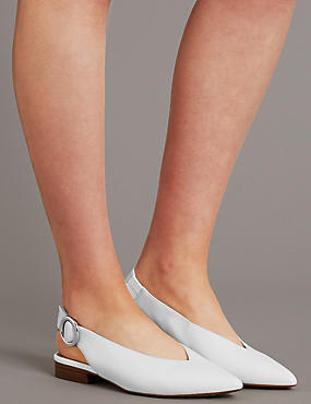 Leather Block Heel Slingback Flats, WHITE, catlanding
