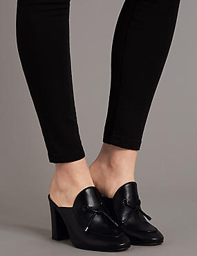 Leather Block Heel Toggle High Mule Shoes, BLACK, catlanding