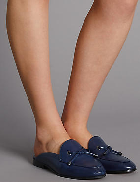Leather Block Heel Knot Mule Shoes, NAVY, catlanding