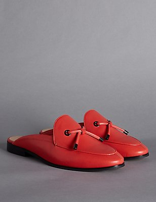 Leather Block Heel Knot Mule Shoes, FLAME, catlanding
